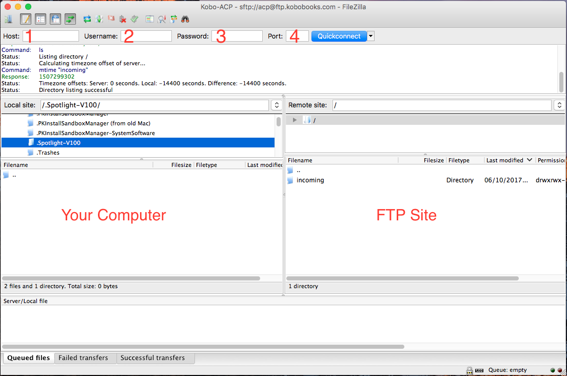 FTP client screenshot