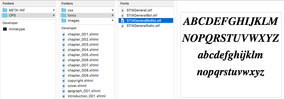 Screenshot of the font files in an ePUB