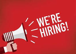 megaphone on red background with text: we're hiring